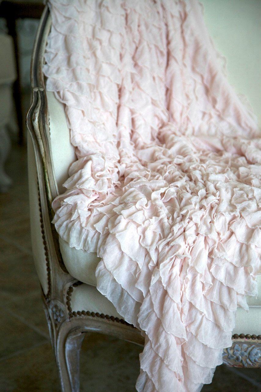 Blush Pink Throw Blanket Soft Ruffled Throw Blanket Photography Propblush Pinkwhite