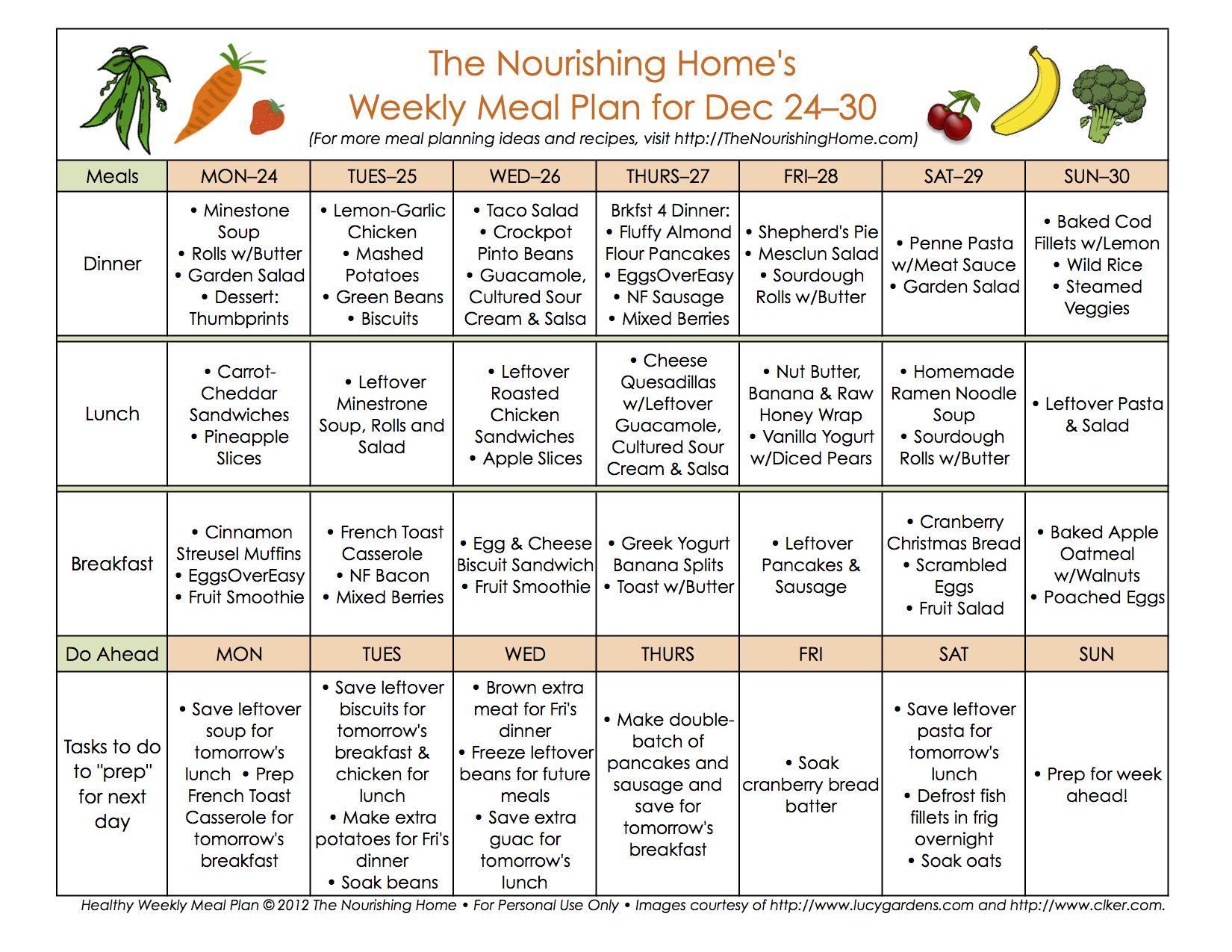 Meal Plan Monday December 24 January 6