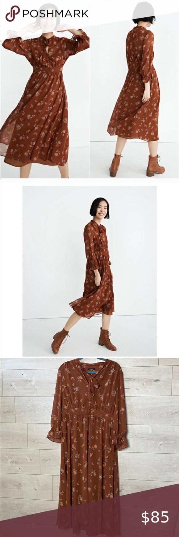 Madewell Georgette Tie Neck Midi Dress Size 12 Midi Dress Clothes Design Floral Midi Dress [ 1740 x 580 Pixel ]
