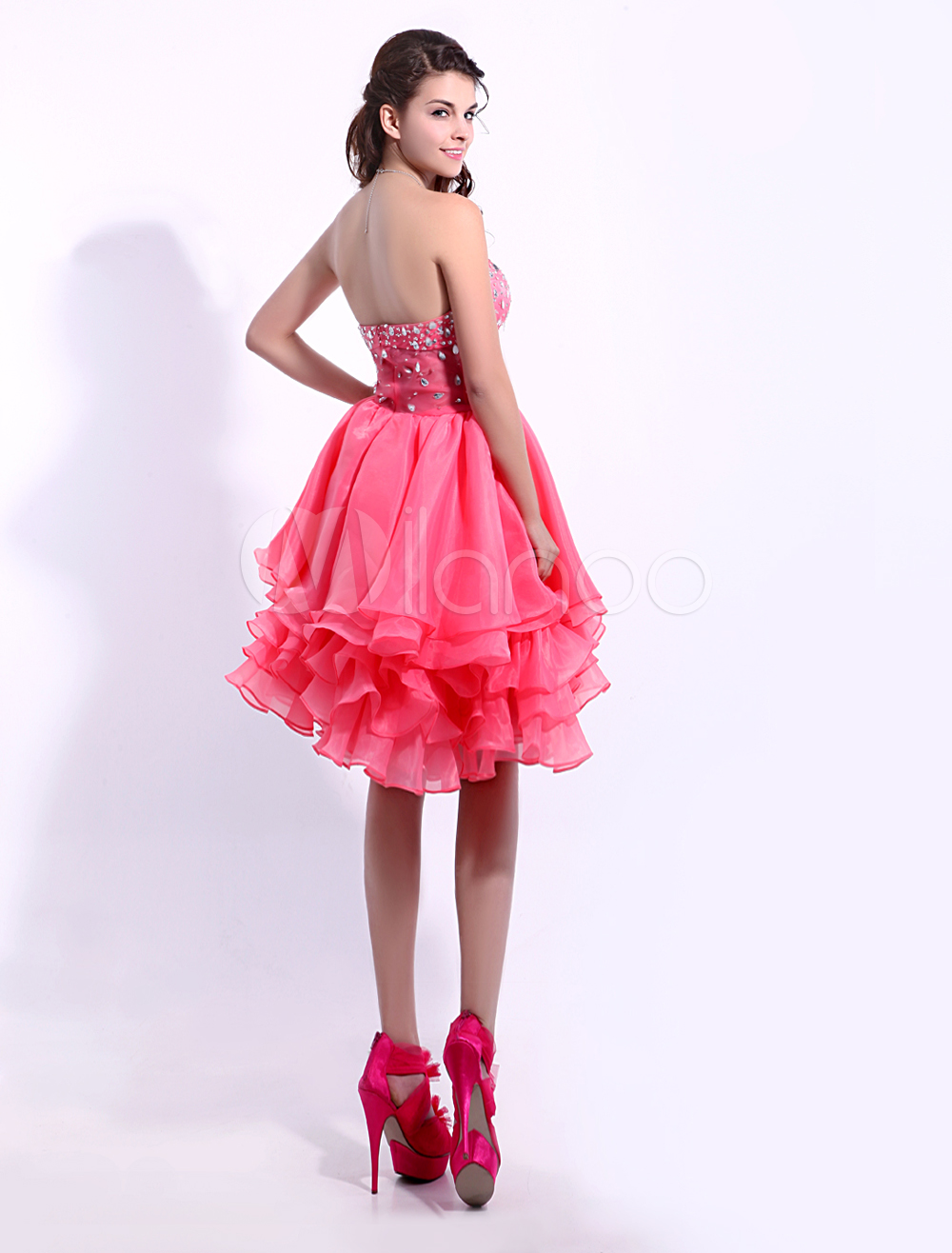 e783614600b Coral Cocktail Dress Organza Tiered Prom Dress Strapless Sweetheart Beaded  A Line Keen Length Party Dress Milanoo  Tiered