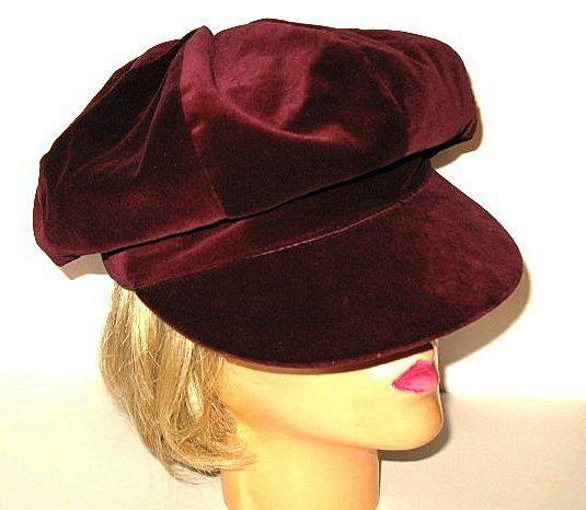 c6ef084c 1970s Vintage Deep Burgundy Velvet Hat Oversized Newsboy Style Cap ...