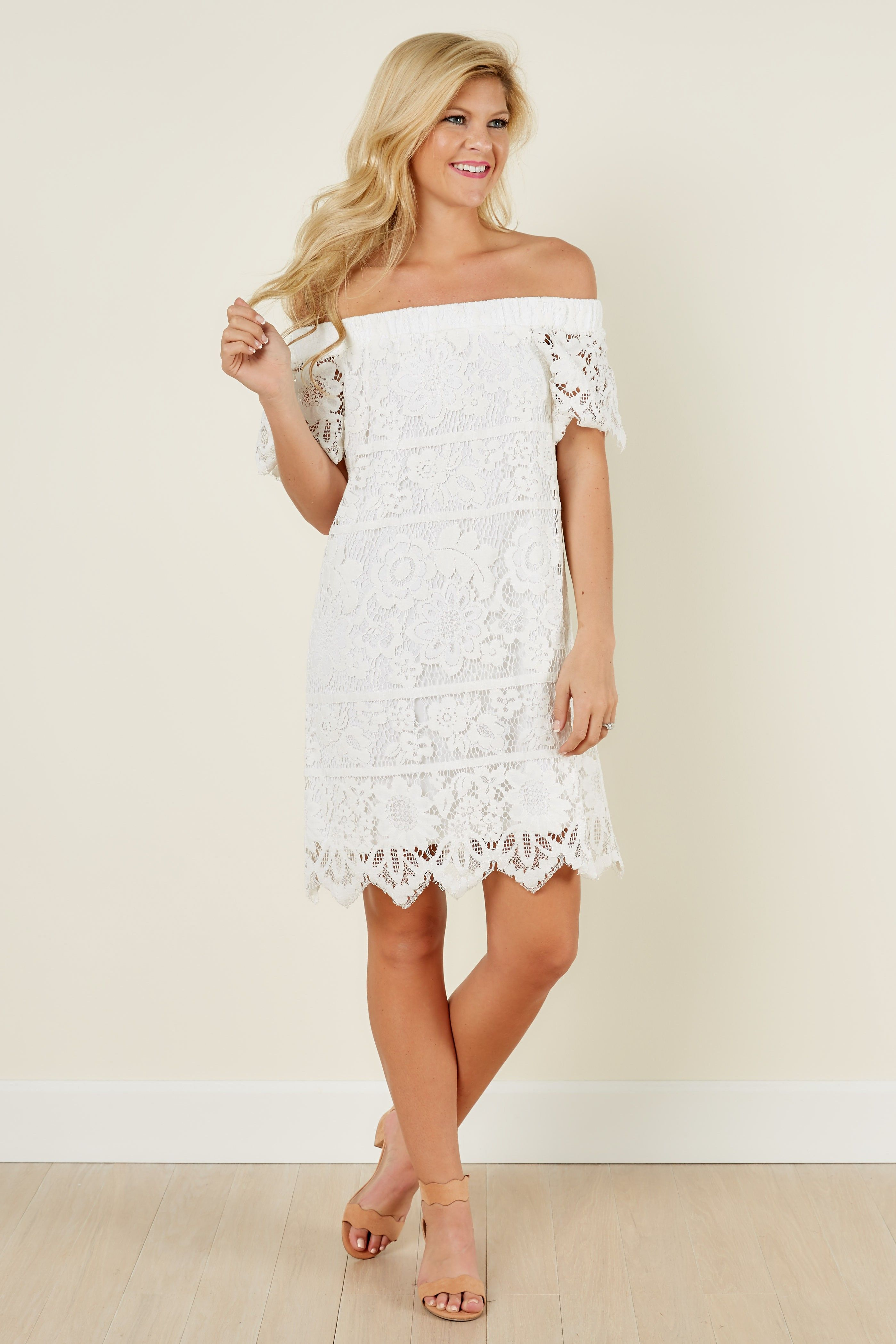 Hard To Resist White Off The Shoulder Lace Dress at