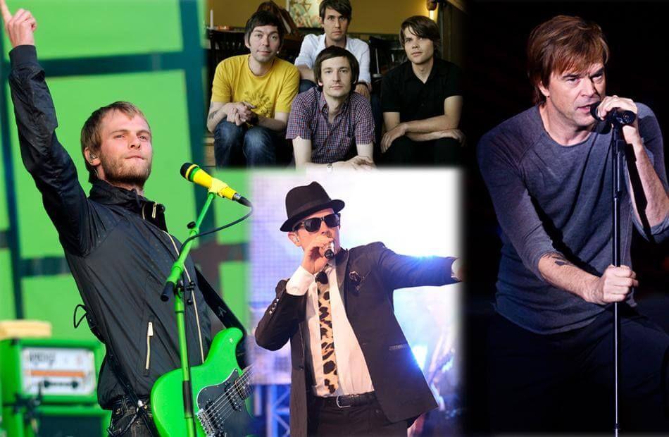 """20 bekannte deutsche Bands, darunter die Sportfreunde Stiller, Tocotronic, Jan Delay und Die Toten Hosen (v.l.), veröffentlichten jetzt den Appell: """"Zeit zu handeln!"""""""