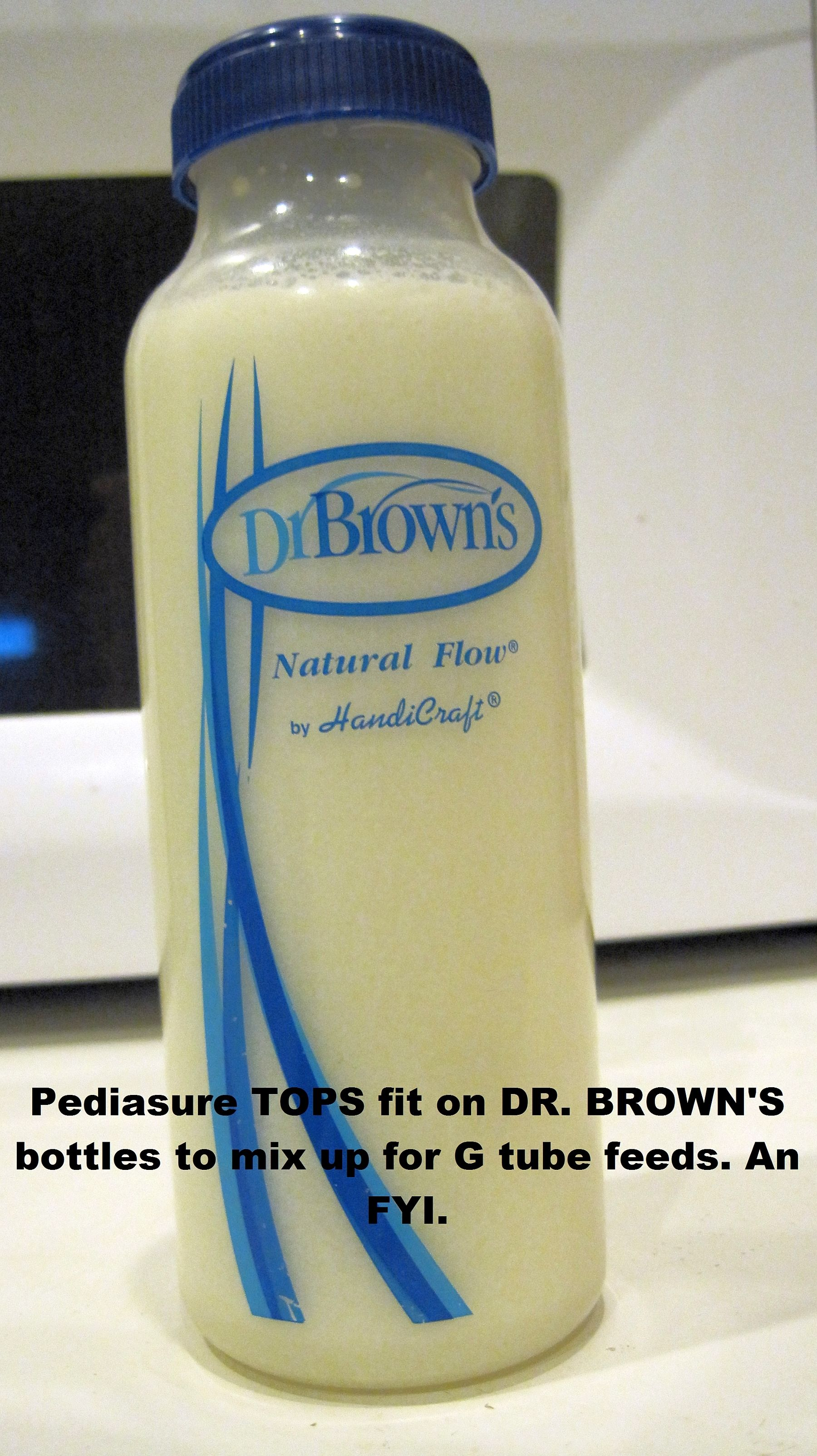 Pediasure bottle tops can fit on Dr. Brown bottles to mix ...