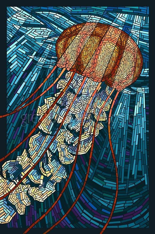 Zoom: Jellyfish - Paper Mosaic: Retro Travel Poster | Great Big Canvas