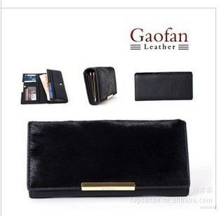 Free Shipping black horsehair surface leather wallet card bag lady grow a purse