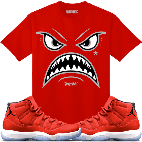 661439c2ffff4b Air Jordan 11 Win Like 96 Gym Red Sneaker Tee Shirt to match made by  Original Rufnek Clothing. Shirt is made out of pre-shrunk cotton and fits  true to size.