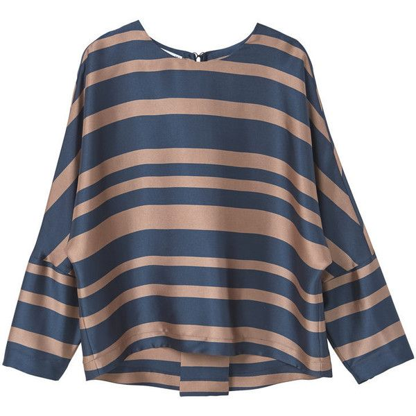 MANGO Flowy Striped Blouse (€48) ❤ liked on Polyvore featuring tops, blouses, mango tops, blue top, mango blouse, round top and 3/4 sleeve tops
