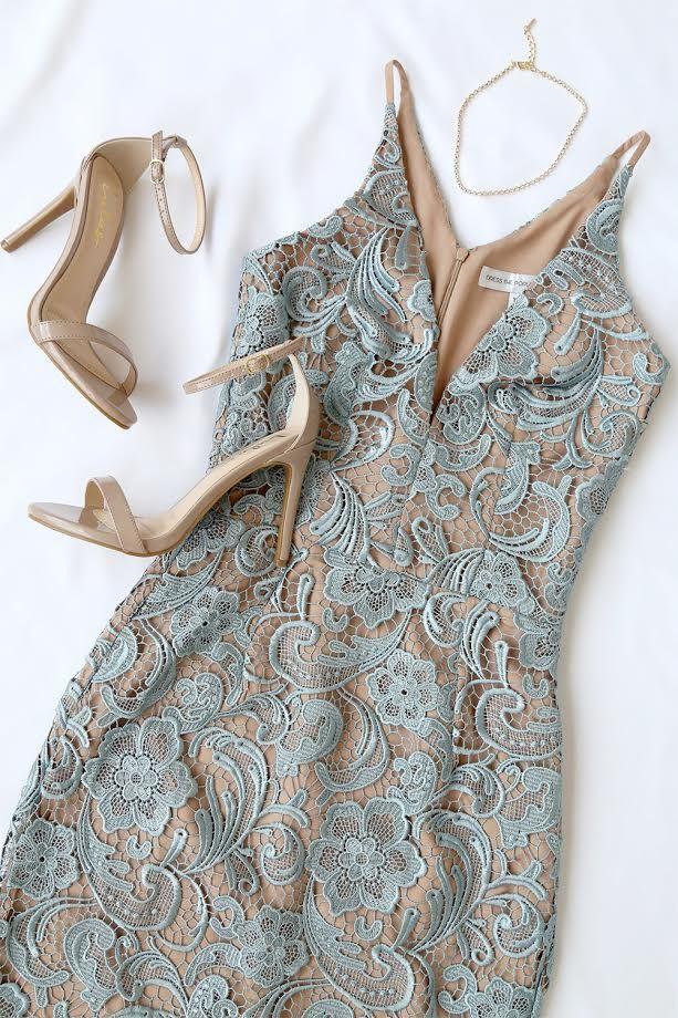 8ff35bbf3f7 Dress the Population Marie Slate Blue Lace Midi Dress in 2019