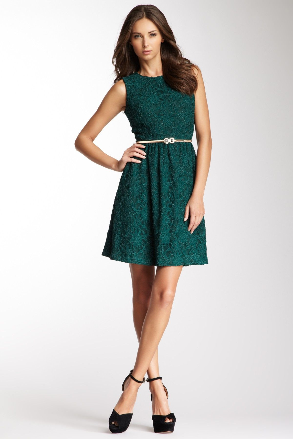 Lace A-Line Belted Dress.the color is beautiful.