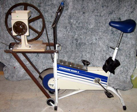 exercise bike hooked up to Country Living Grain Mill Homesteading