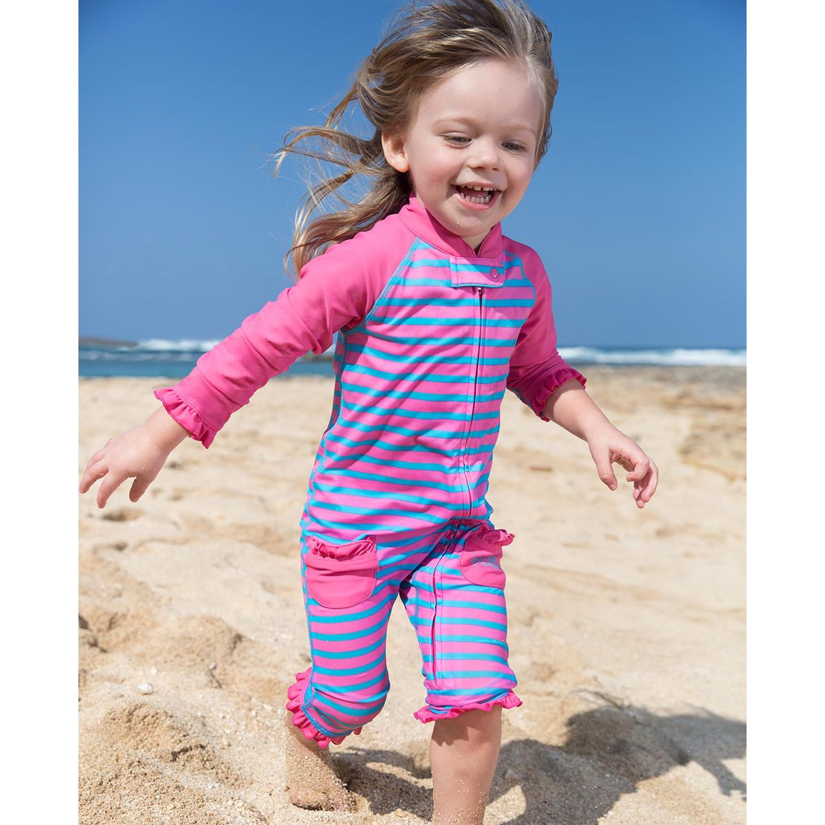 1de1722d7a083 Wrap your baby in comfort and sun protection with our adorable Sun and Swim  Suits! Order your baby girl's swimsuits online at UVSkinz.com today.