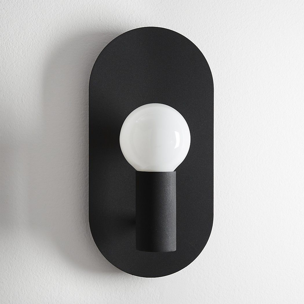 Shop Plate Matte Black Wall Sconce Matte Black Metal Oval Spotlights A Single Bulb Designed By Mermela Wall Sconces Vintage Wall Sconces Wall Sconces Bedroom