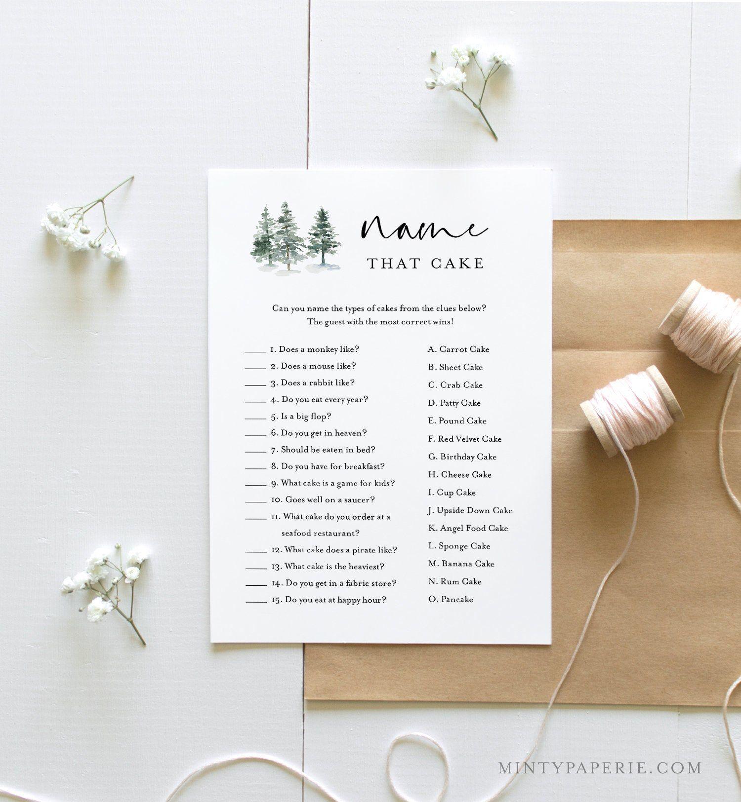 Name That Cake Bridal Shower Game, Printable Rustic Pine