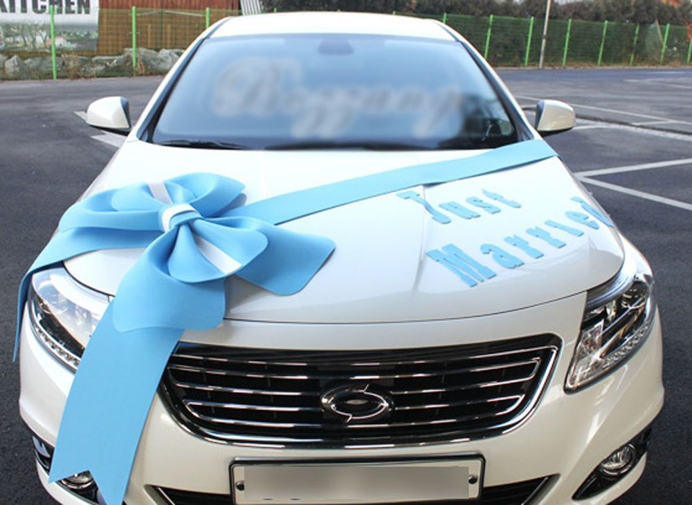 Wedding car Decorations kit Big Ribbons Blue bows Letter banner ...