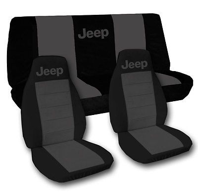 Front And Rear Black And Charcoal Seat Covers Grand Cherokee