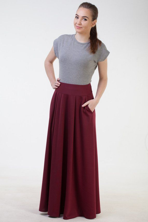 747cbc86a Burgundy long skirt with pockets Maxi burgundy skirt Office skirt Burgudny  autumn winter skirt Long