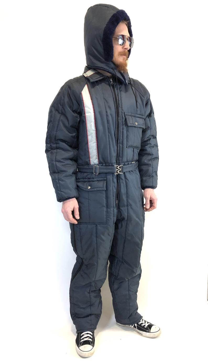 vintage mod striped snowsuit snow snowmobile suit jumpsuit on men s insulated coveralls with hood id=73692
