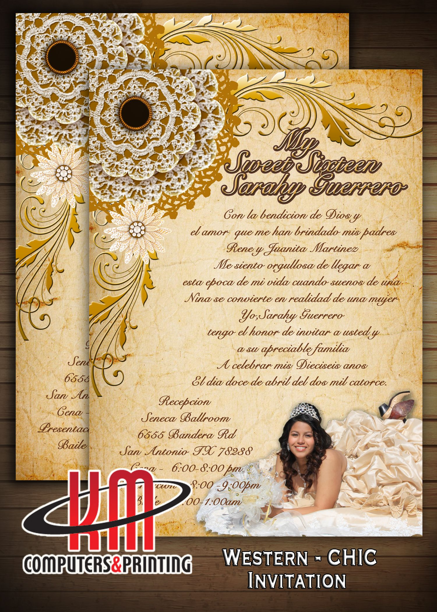 Western Chic Invitation 5x7 Wedding Xv Anos Bridal Shower