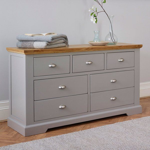 Grey Wide Chest of Drawers | St Ives | Oak Furnitureland