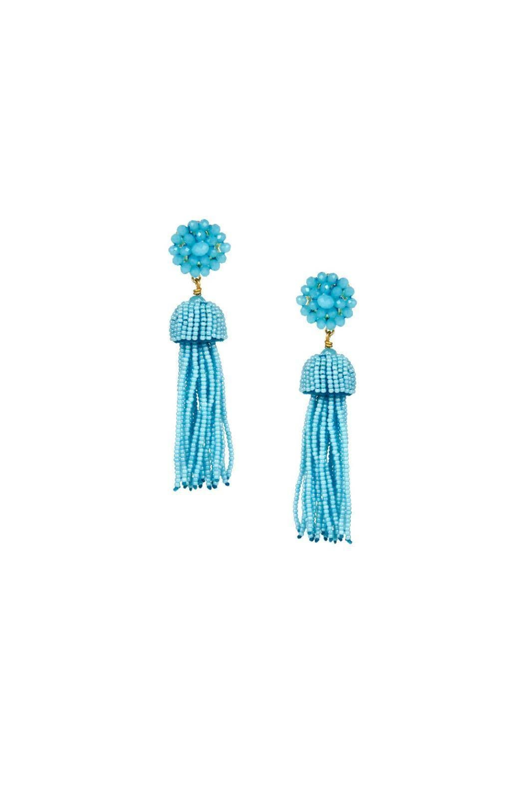 """These glass beaded earrings are 18 grams nickel and feature lead-free post backs. Dimensions: 3.5"""" long       Aqua Tassel Earrings by Lisi Lerch. Accessories - Jewelry - Earrings - Statement Dallas, Texas"""