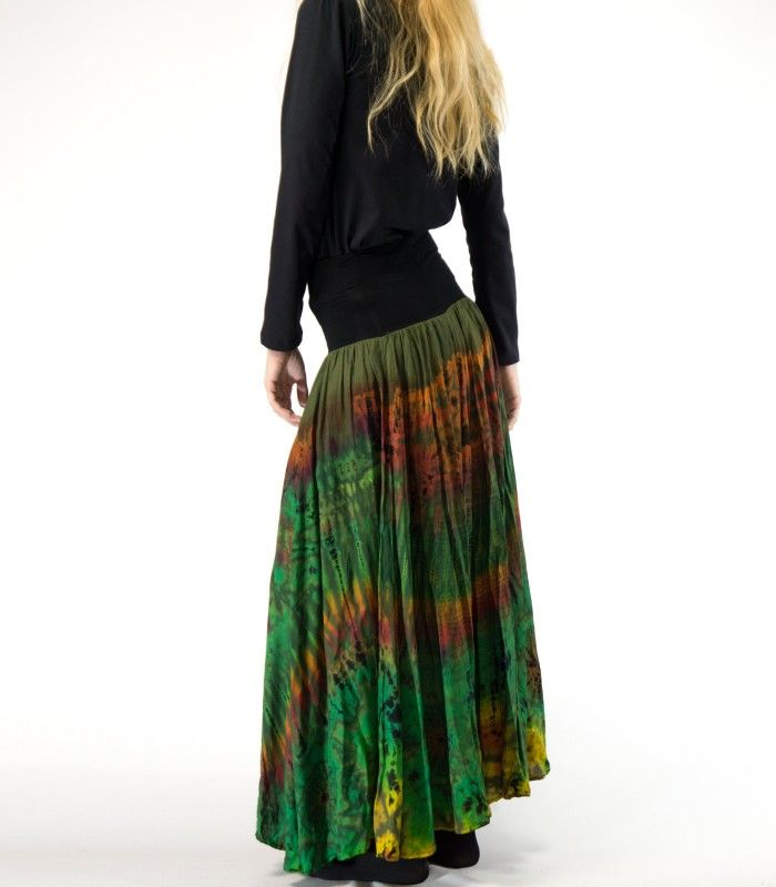 2eb9cd1c9 Falda hippie larga con estampado tie dye y cintura ancha elástica en ...