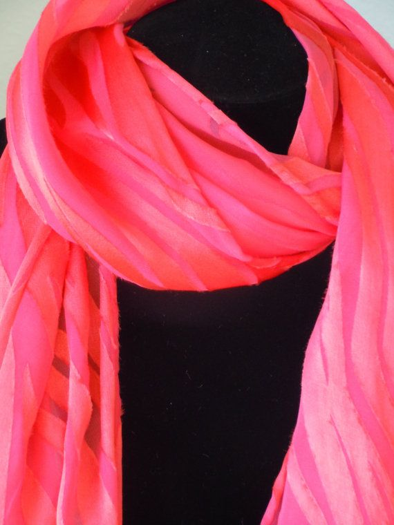 Lovely Handdyed devore scarf of Tangerine satin on pink chiffon by Fruitjarstudio, $17.00 Perfect for Easter!