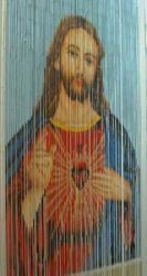 A Hand Painted 90 Strands Of Bamboo Beads Curtain Doorway Room Divider With  Jesus Christ Design