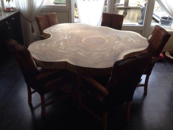 Boomstam Tafel Rond.Boomstamtafel Rond 150 180cm Eetkamertafel Eettafel En