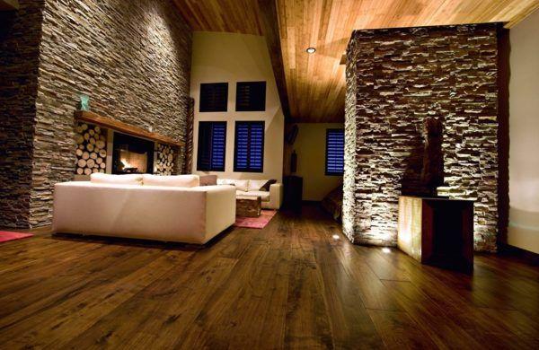 Steinwand Wohnzimmer: eine gehobene und stilvolle ...