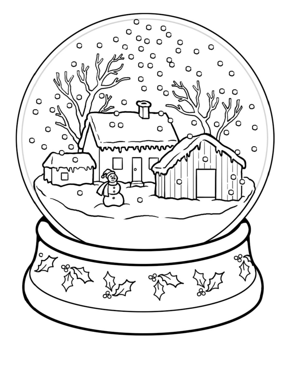 Winter Coloring Pages Snow Globe Coloringstar Trees For Heroes