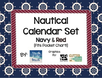 Nautical Calendar Set Navy Red Fits In Pocket Chart Classroom Calendar Set Nautical Classroom Pocket Chart