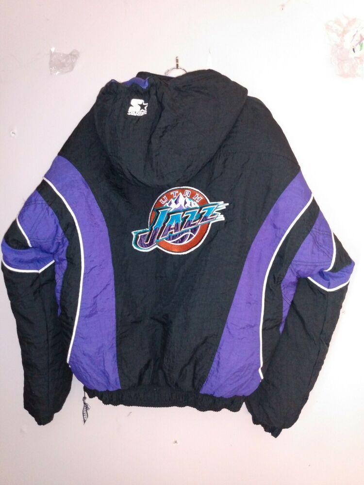 Vtg Nba Utah Jazz Starter Coat Jacket Basketball Puffer Puffy Kangaroo Pocket Xl Starter Utahjazz In 2020 Satin Jackets Jackets Athletic Jacket
