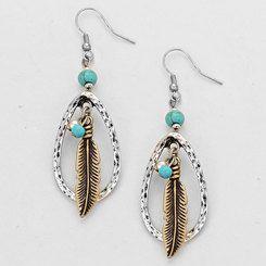 Boho Chic Silvertone Large Teardrop Feather Dangle Earrings
