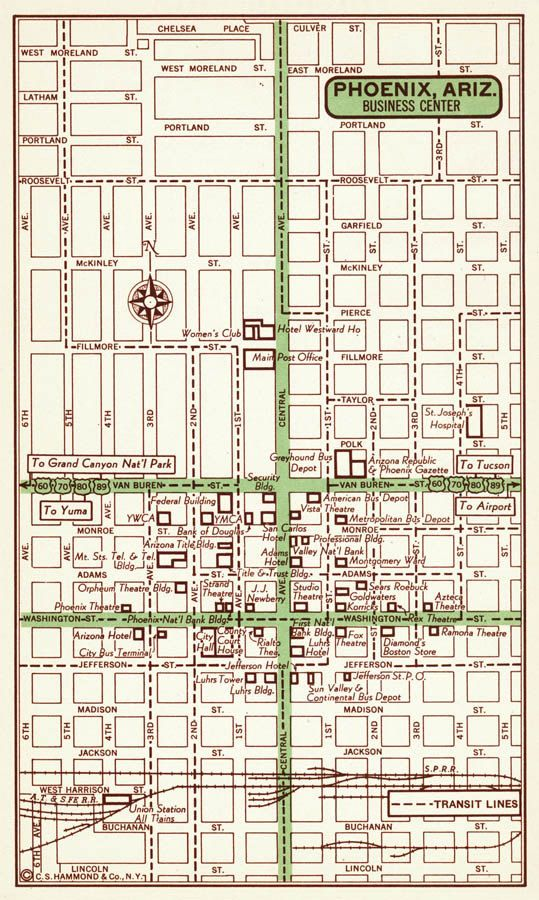 Map Of Phoenix Arizona.Phoenix Arizona Map Phoenix Street Map Phoenix Vintage Map