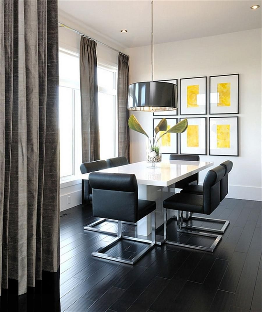 Elegant Black White Dining Room Supplemented By White Dining