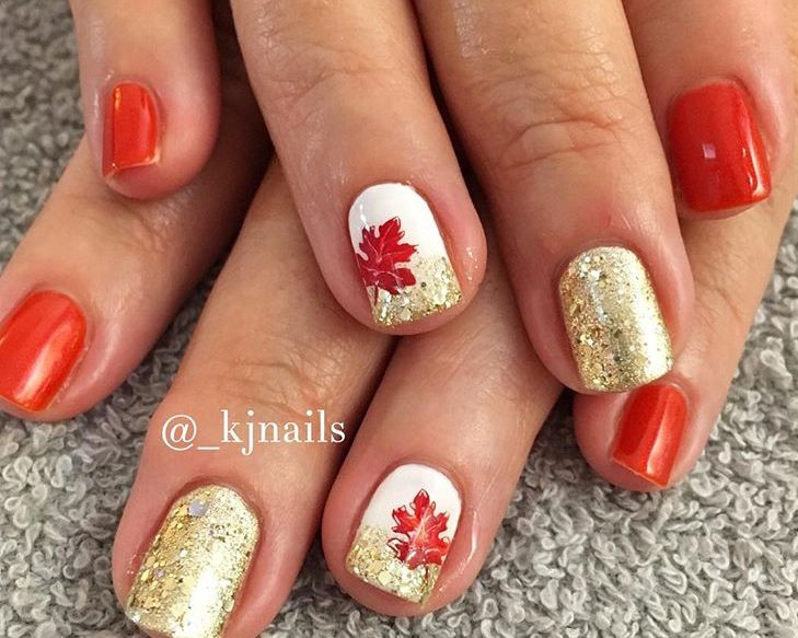 Orange White And Gold Shellac Nails Fall Orange Nails Gold Nails