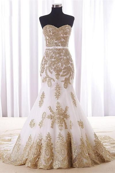 Sweep Train Mermaid Strapless White Long Prom Dresses With Gold Lace ...