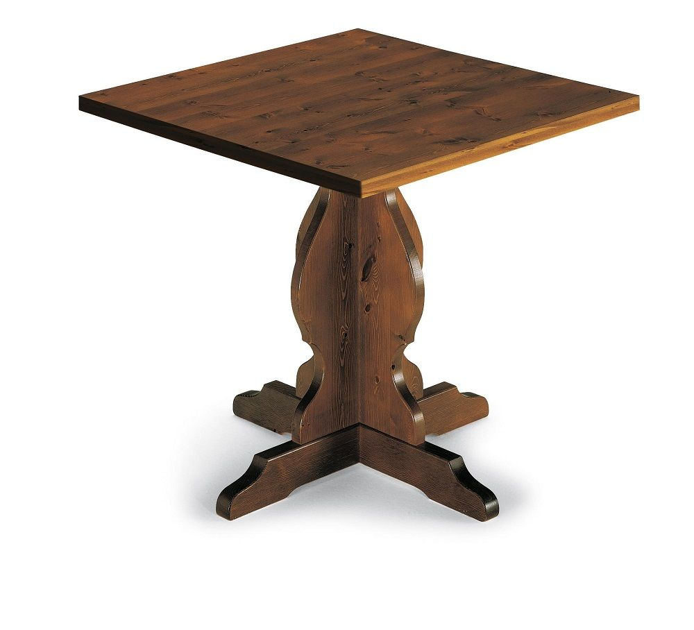 Tavolo quadrato in pino massiccio con gamba incrociata ideale per ristoranti bar agriturismo - Tavolo quadrato gamba centrale ...