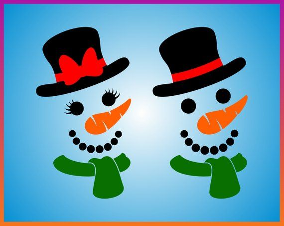 Snowman Face with Carrot Nose with Hat SVG Eps dxf png jpg