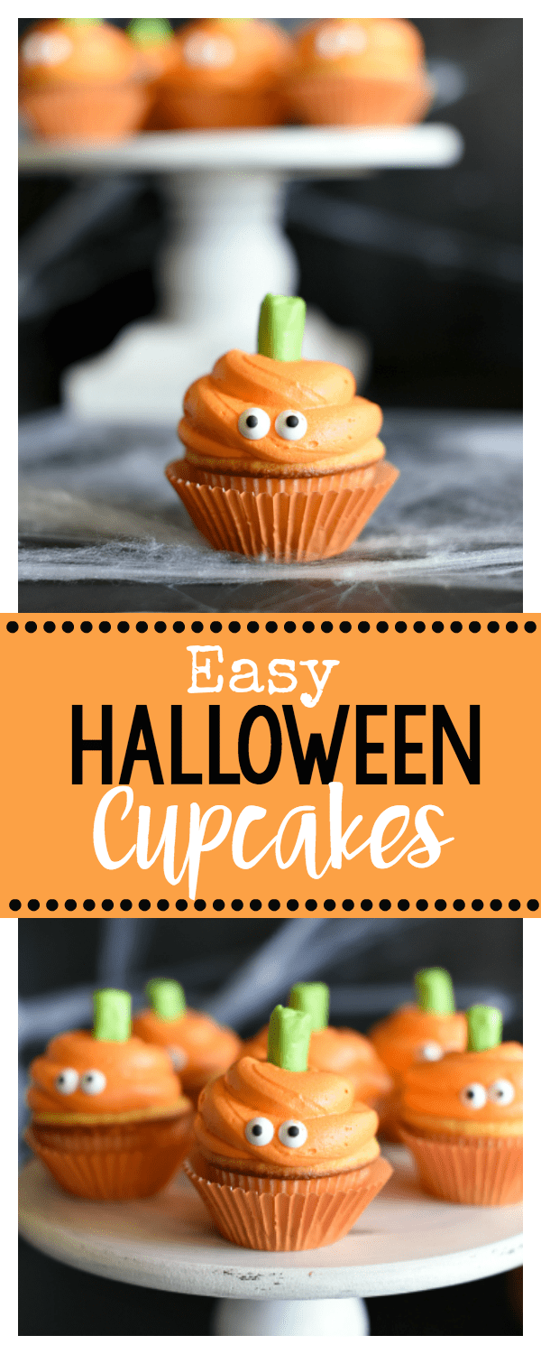 Easy Halloween Cupcakes with Pumpkin Faces #halloweencupcakes