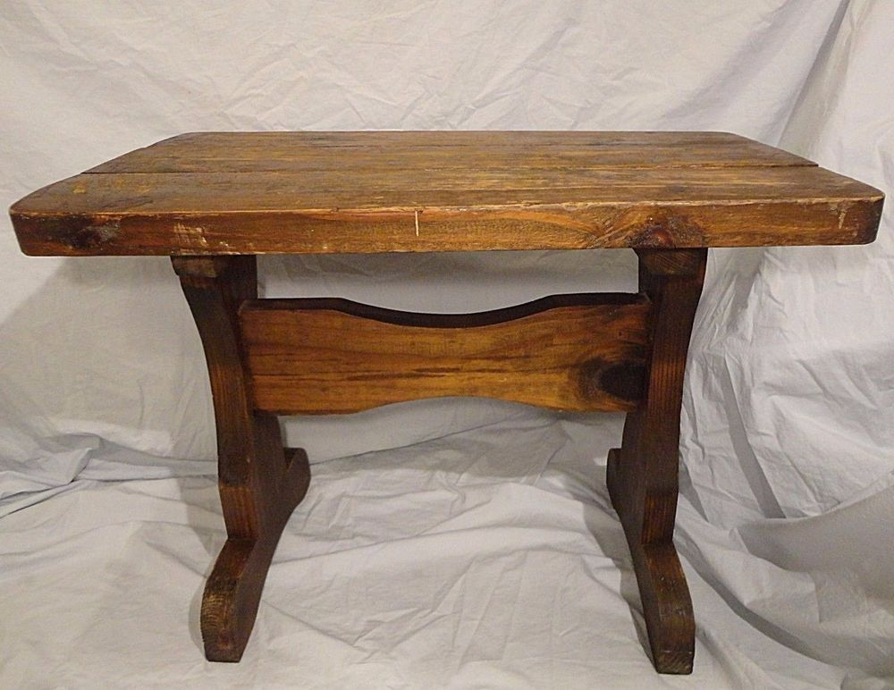 Details About Rustic Side End Table Solid Thick Wood Vintage Country Style  Cabin Furniture