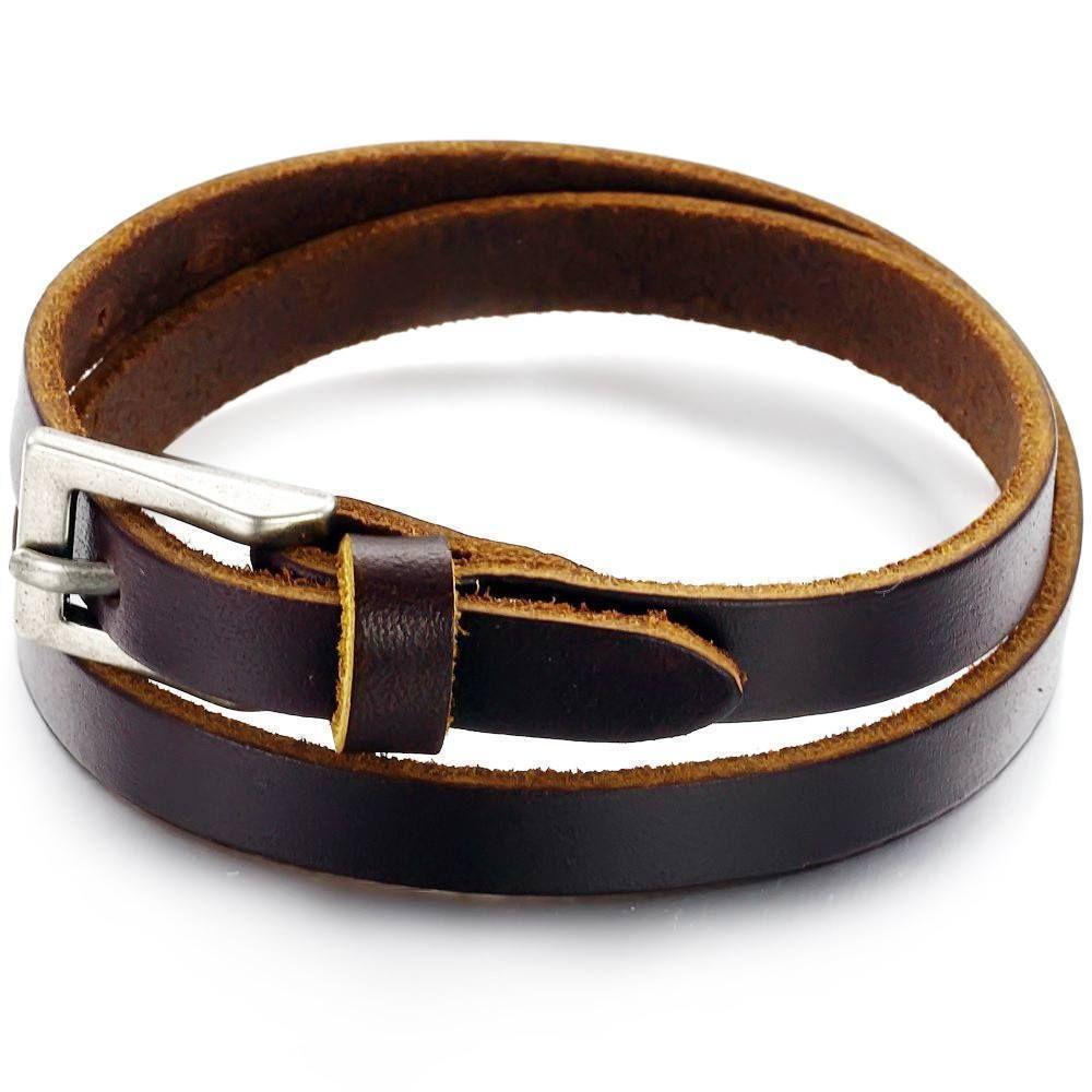 Stainless Steel Belt Leather Mens Bracelet Dark Brown