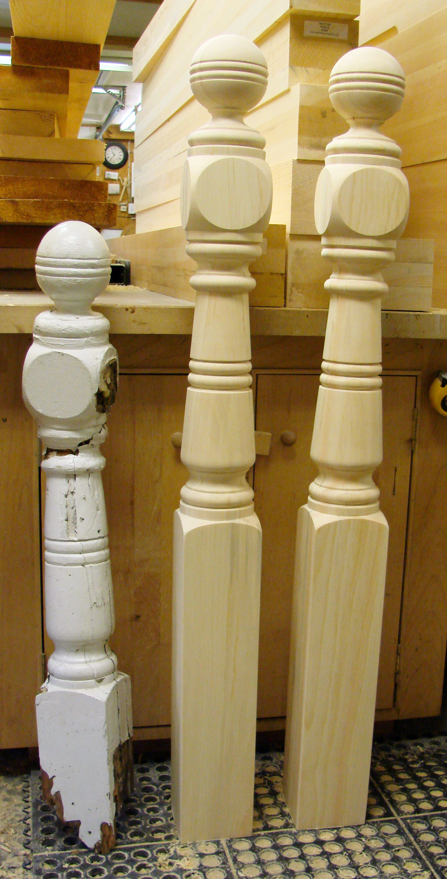 2 custom newel posts made from the orginal rotted newel