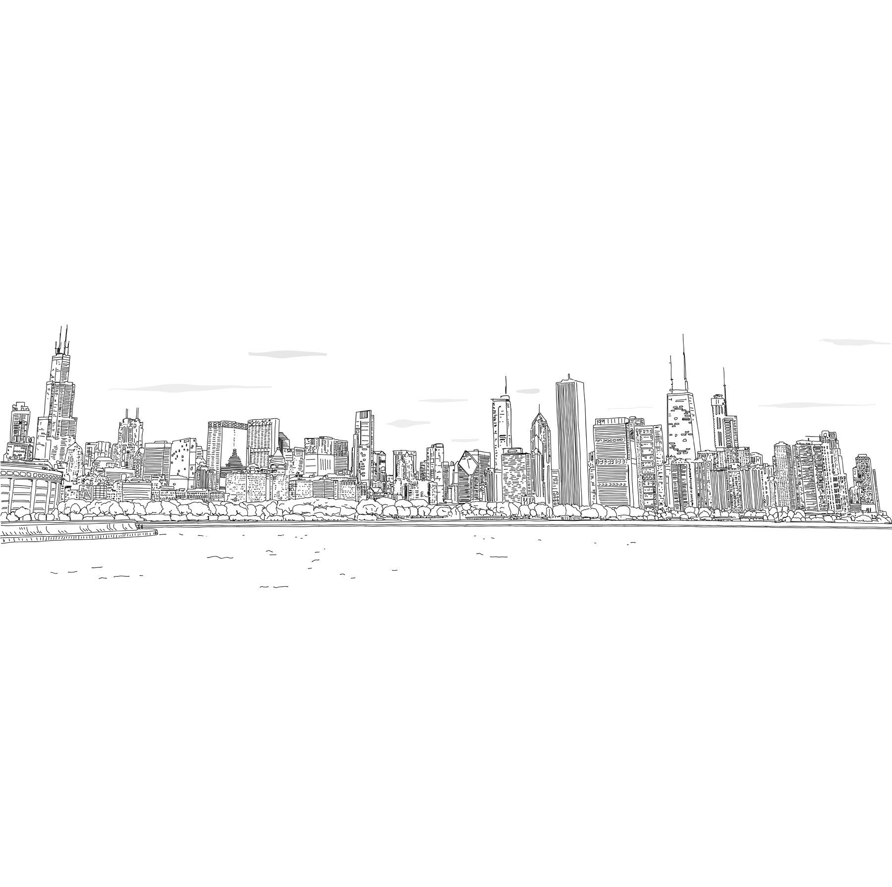 Set Of Black And White Panorama Cities Vector Art Panorama City City Vector Perspective Drawing Architecture