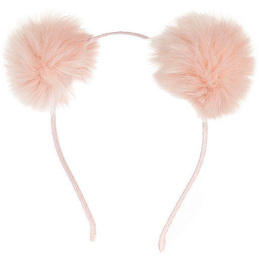 48516a0823a78 Girls pink pom pom ear headband