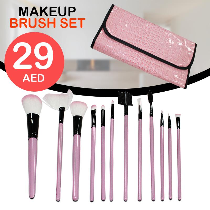 AED 29 Best Quality 12 pcs Make Up Brush Set ( Pink