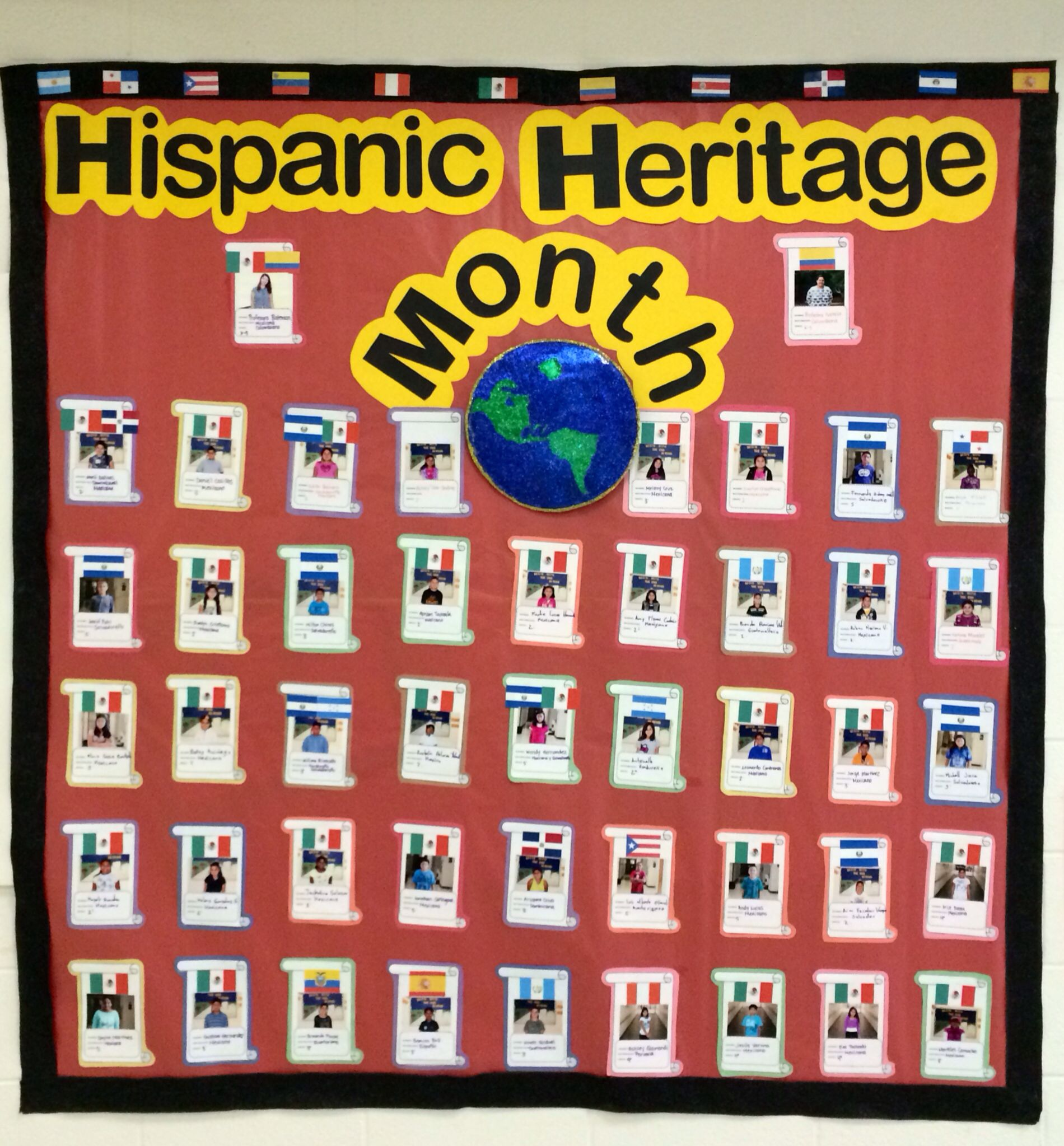 Hispanic Heritage Month Display Of Students With Hispanic Her