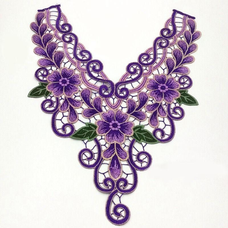 CW/_ AU/_ JZ/_ Lace Embroidered Venise Neckline Neck Collar Trim Clothes Sewing App