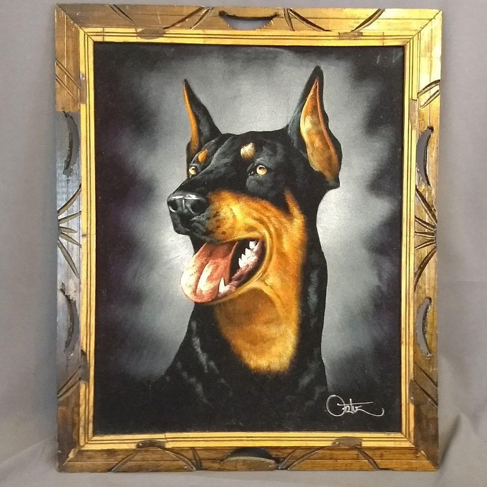 Black Velvet Painting Doberman Pinscher Dog Signed Ortiz Mexico 20
